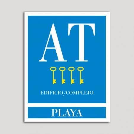 Placa distintivo Apartamento turístico - Edifico/Complejo - Playa - Cuatro llaves-oro.Andalucía.