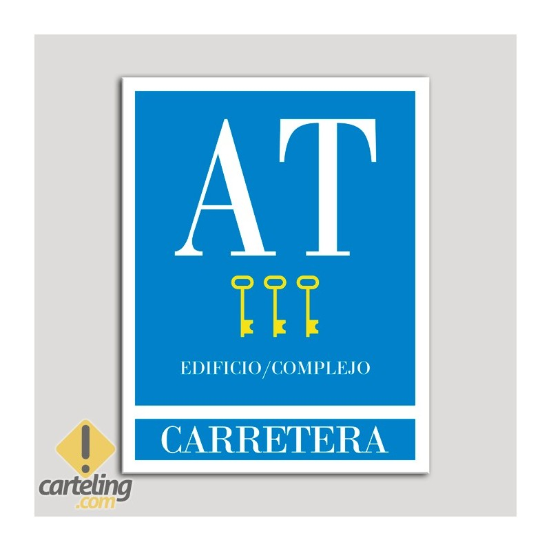 Placa distintivo Apartamento turístico - Edifico/Complejo - Carretera - Tres llaves-oro.Andalucía.