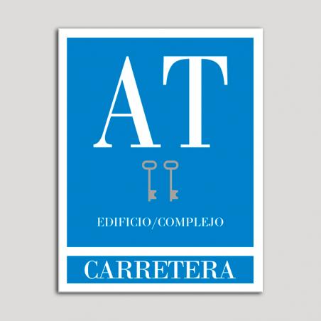 Placa distintivo Apartamento turístico - Edificio/Complejo - Carretera - Dos llaves-plata.Andalucía.