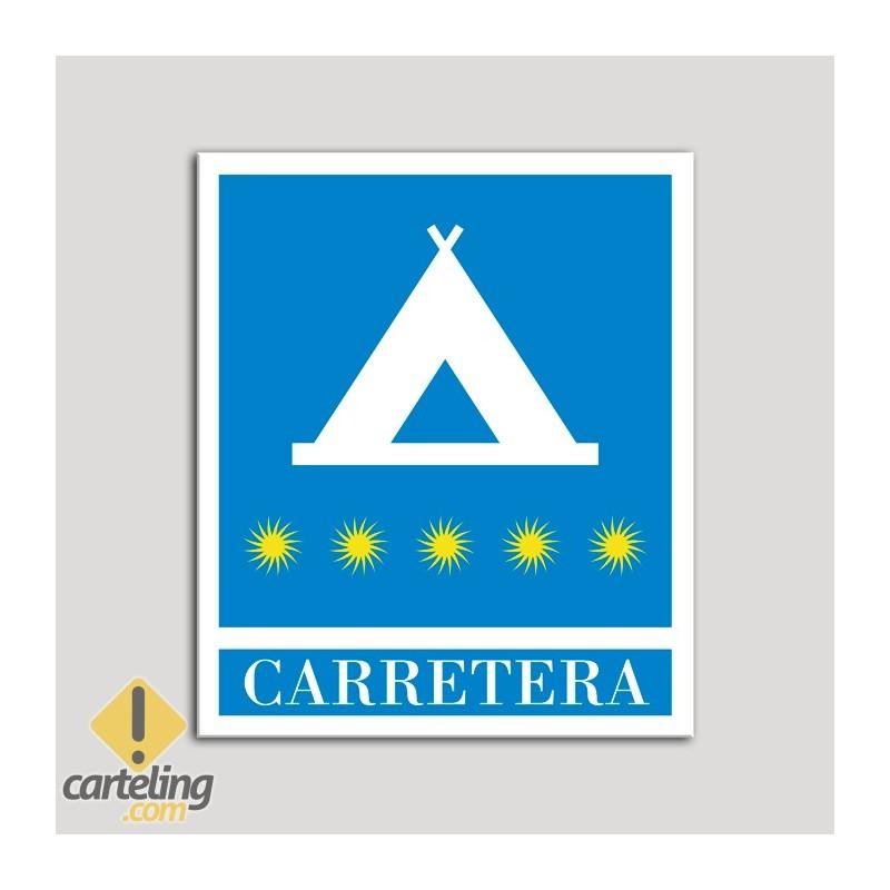 Placa distintivo Campamentos de Turismo - Carretera - cinco estrellas - Oro.Andalucía.