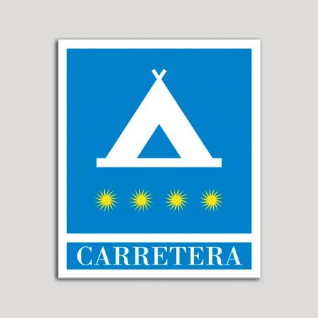 Placa distintivo Campamentos de Turismo - Carretera - cuatro estrellas - Oro.Andalucía.