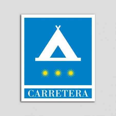 Placa distintivo Campamentos de Turismo - Carretera - tres estrellas - Oro.Andalucía.