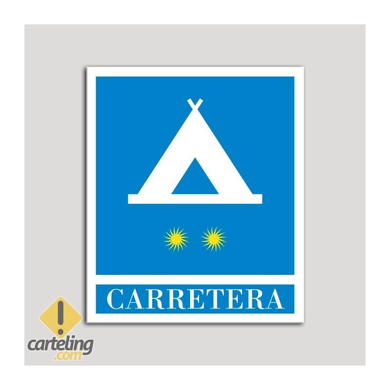 Placa distintivo Campamentos de Turismo - Carretera - dos estrellas- Oro.Andalucía.