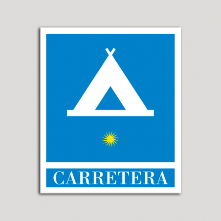 Placa distintivo Campamentos de Turismo - Carretera - una estrella- Oro.Andalucía.