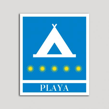 Placa distintivo Campamentos de Turismo - Playa - cinco estrellas- Oro.Andalucía.