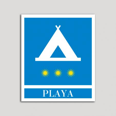 Placa distintivo Campamentos de Turismo - Playa - tres estrellas- Oro.Andalucía.