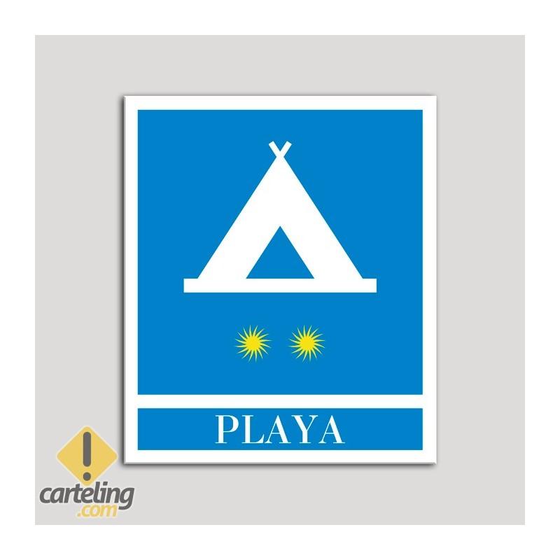 Placa distintivo Campamentos de Turismo - Playa - dos estrellas- Oro.Andalucía.