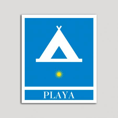 Placa distintivo Campamentos de Turismo - Playa - una estrella- Oro.Andalucía.