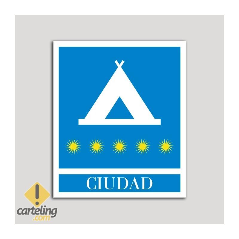Placa distintivo Campamentos de Turismo - Ciudad - cinco estrellas- Oro.Andalucía.