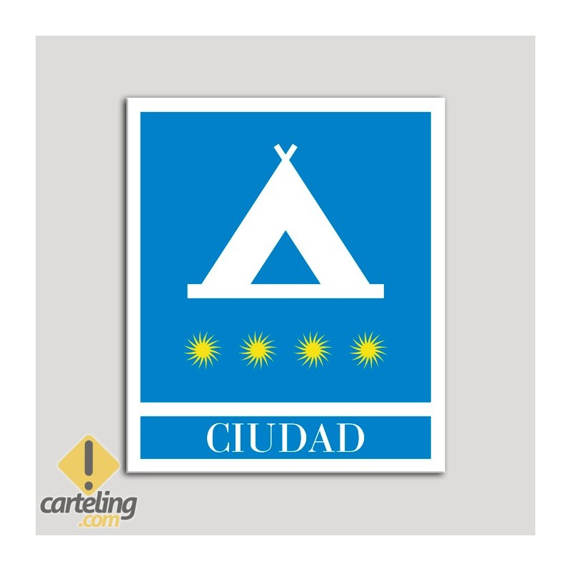 Placa distintivo Campamentos de Turismo - Ciudad- cuatro estrellas- Oro.Andalucía.