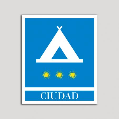 Placa distintivo Campamentos de Turismo - Ciudad- tres estrellas- Oro.Andalucía.