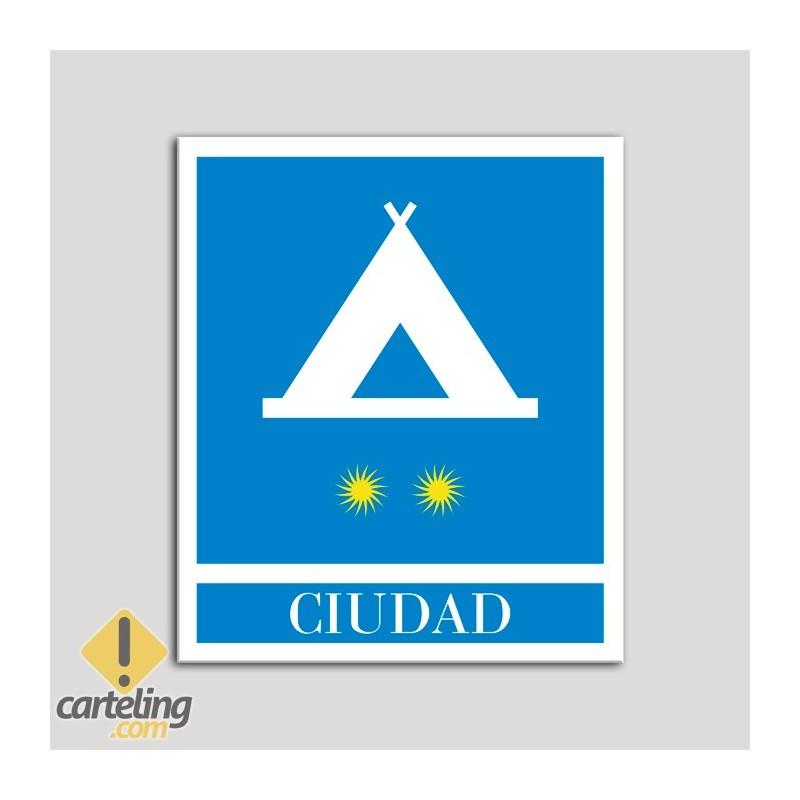 Placa distintivo Campamentos de Turismo - Ciudad- dos estrellas- Oro.Andalucía.