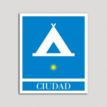 Placa distintivo Campamentos de Turismo - Ciudad- una estrella- Oro.Andalucía.