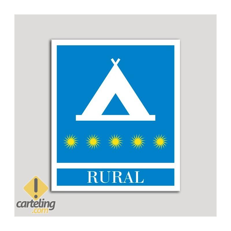 Placa distintivo Campamentos de Turismo - Rural - cinco estrellas- Oro.Andalucía.