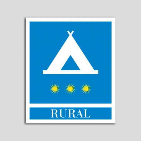 Placa distintivo Campamentos de Turismo - Rural - tres estrellas- Oro.Andalucía.