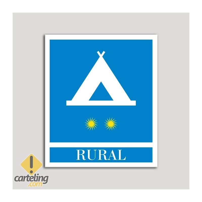 Placa distintivo Campamentos de Turismo - Rural - dos estrellas- Oro.Andalucía.