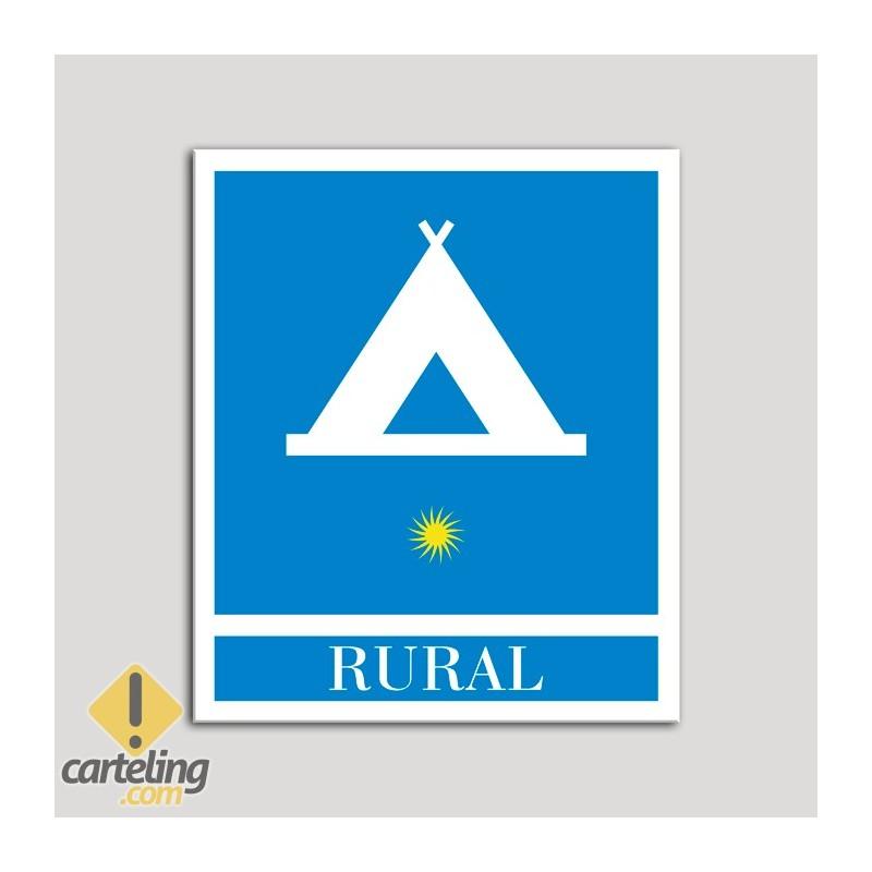 Placa distintivo Campamentos de Turismo - Rural - una estrella- Oro.Andalucía.