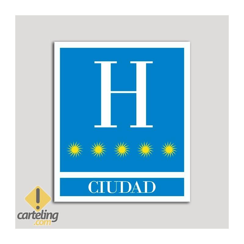Placa distintivo Hoteles - Ciudad - cinco estrellas- Oro.Andalucía.