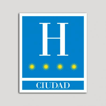 Placa distintivo Hoteles - Ciudad - cuatro estrellas- Oro.Andalucía.