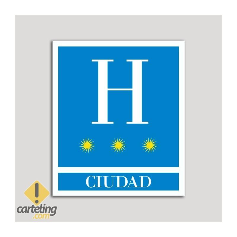 Placa distintivo Hoteles - Ciudad - tres estrellas- Oro.Andalucía.
