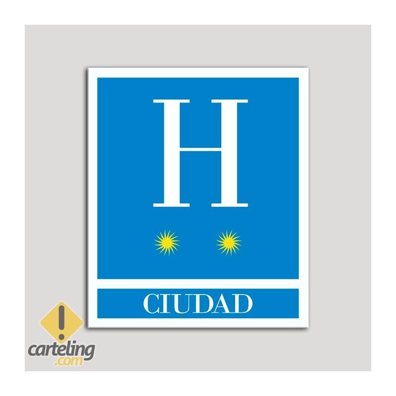 Placa distintivo Hoteles - Ciudad - dos estrellas- Oro.Andalucía.