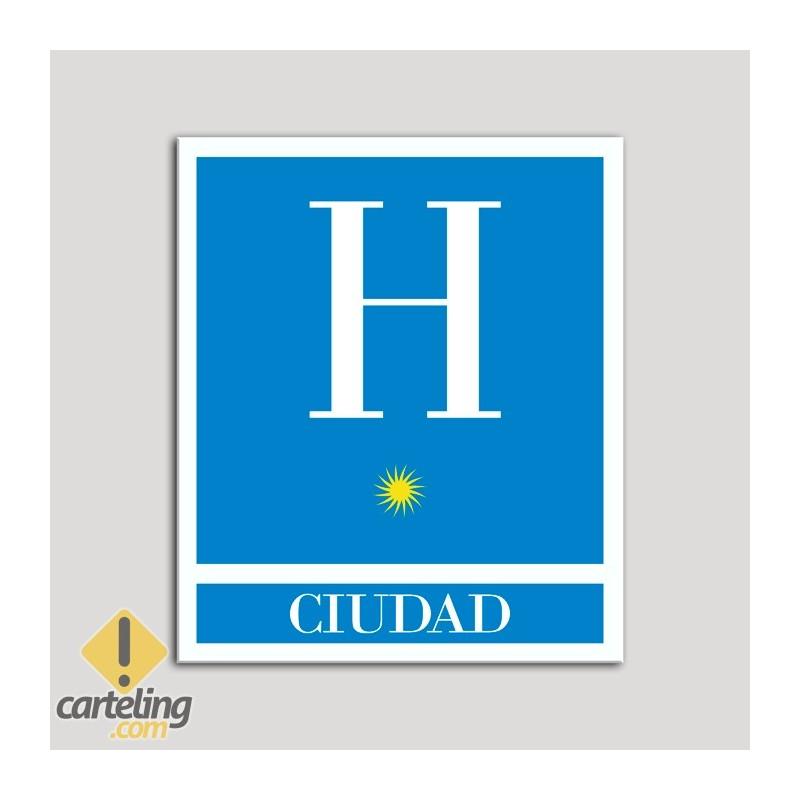 Placa distintivo Hoteles - Ciudad - una estrella- Oro.Andalucía.