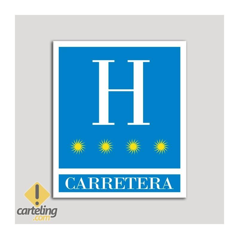 Placa distintivo Hoteles - Carretera - cuatro estrellas- Oro.Andalucía.