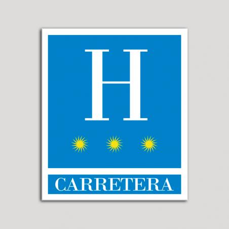 Placa distintivo Hoteles - Carretera - tres estrellas- Oro.Andalucía.