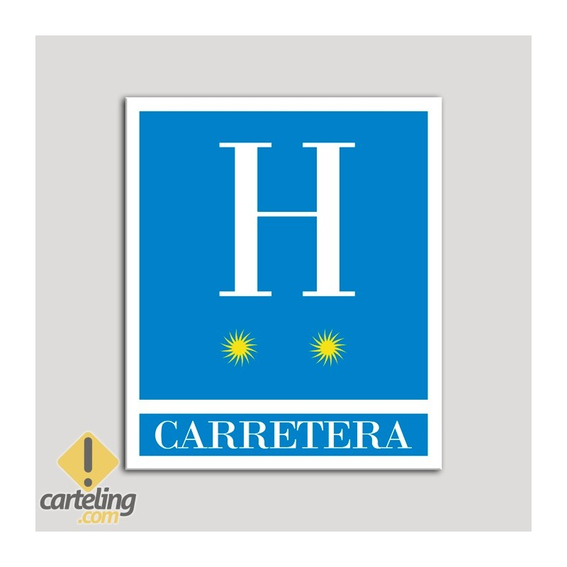 Placa distintivo Hoteles - Carretera - dos estrellas- Oro.Andalucía.