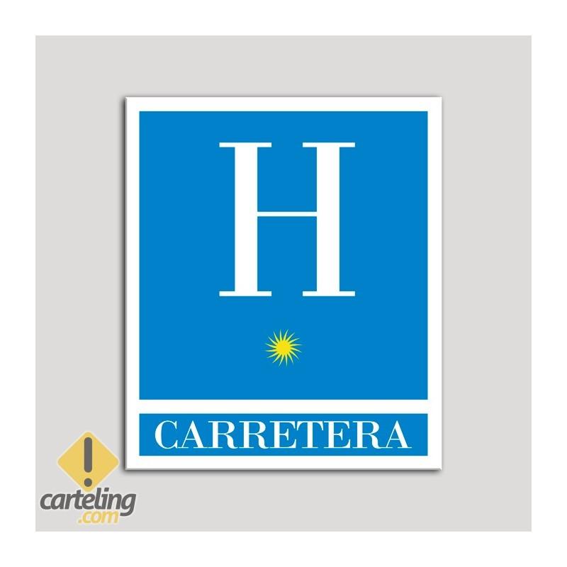 Placa distintivo Hoteles - Carretera - una estrella- Oro.Andalucía.
