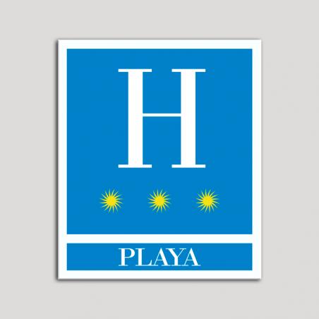 Placa distintivo Hoteles - Playa - tres estrellas- Oro.Andalucía.