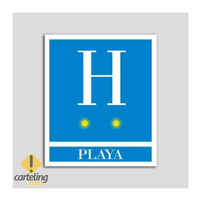 Placa distintivo Hoteles - Playa - dos estrellas- Oro.Andalucía.