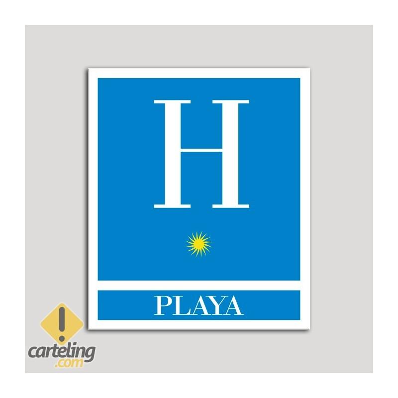 Placa distintivo Hoteles - Playa - una estrella- Oro.Andalucía.