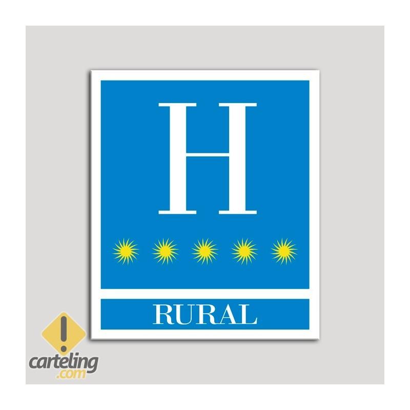 Placa distintivo Hoteles - Rural - cinco estrellas- Oro.Andalucía.