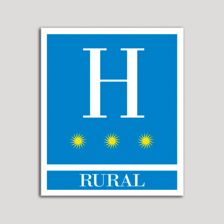 Placa distintivo Hoteles - Rural - tres estrellas- Oro.Andalucía.