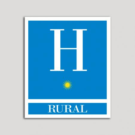 Placa distintivo Hoteles - Rural - una estrella- Oro.Andalucía.