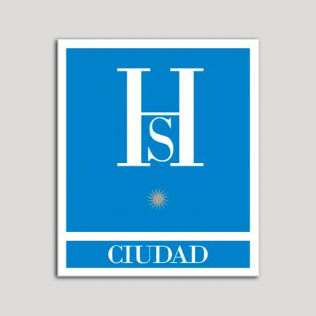 Placa distintivo Hostales - Ciudad - Una estrella plata .Andalucía.