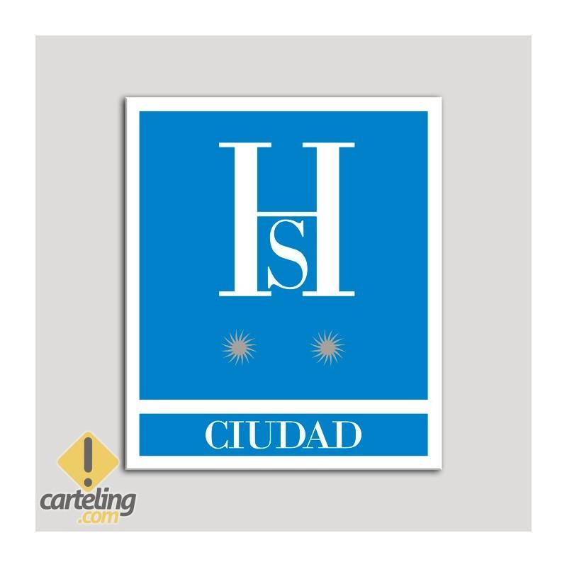 Placa distintivo Hostales - Ciudad - Dos estrellas plata .Andalucía.