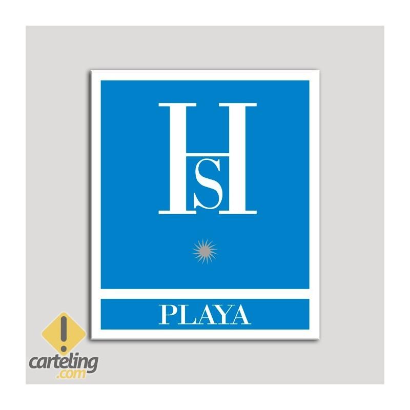 Placa distintivo Hostales - Playa -Distinctive plate Hostels - Beach - A silver star. Andalusia. Una estrella plata .Andalucía.