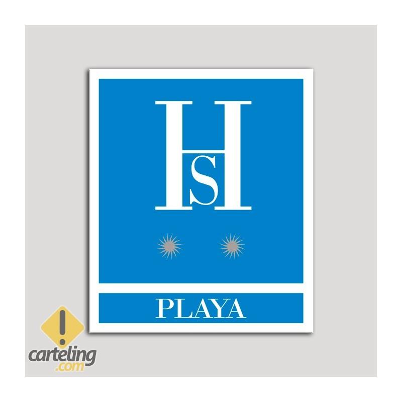 Placa distintivo Hostales - Playa - Dos estrellas plata .Andalucía.