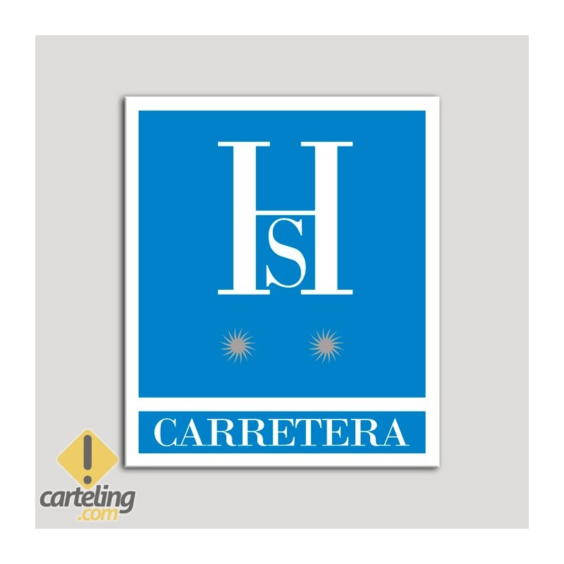 Placa distintivo Hostales - Carretera - Dos estrellas plata .Andalucía.