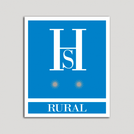 Placa distintivo Hostales - Rural - Dos estrellas plata .Andalucía.