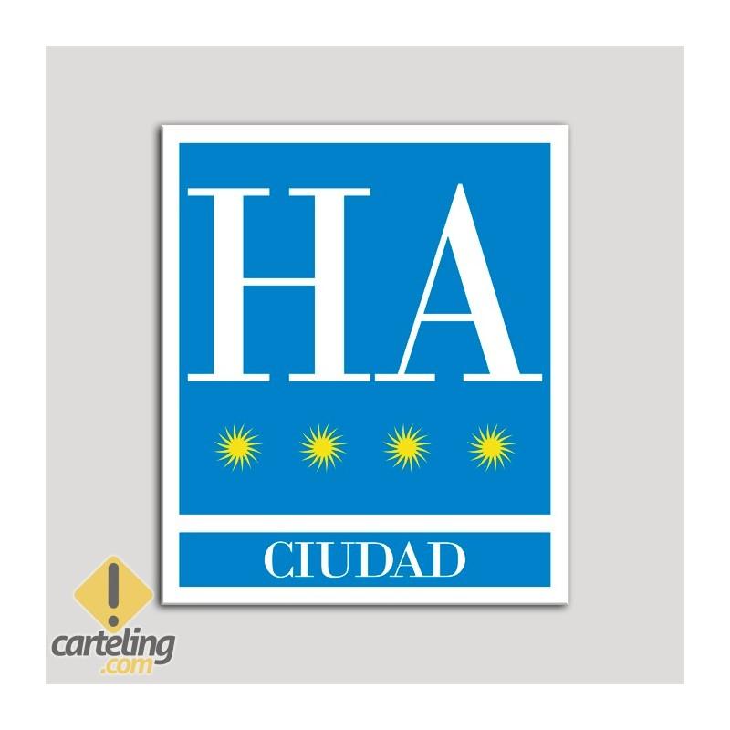 Placa distintivo Hotel - Apartamentos - Ciudad - Cuatro estrellas - Oro .Andalucía.