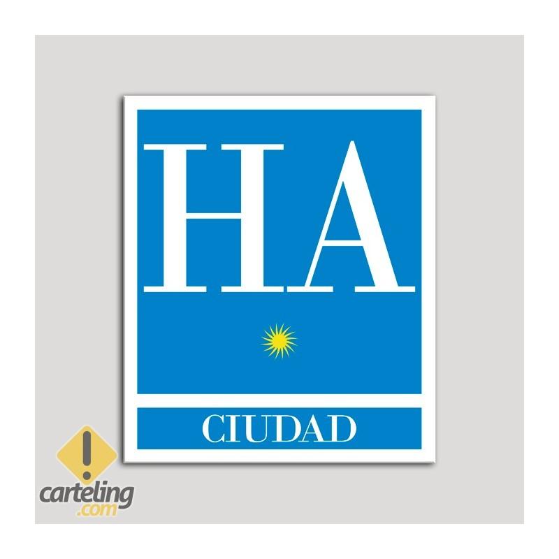 Placa distintivo Hotel - Apartamentos - Ciudad - Una estrella - Oro .Andalucía.