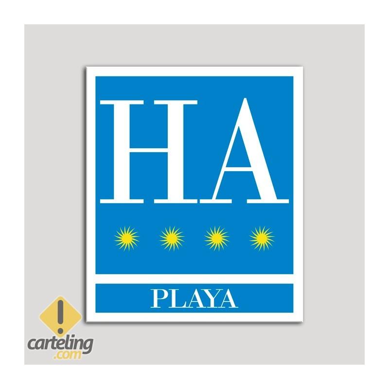 Placa distintivo Hotel - Apartamentos - Playa - Cuatro estrellas - Oro .Andalucía.