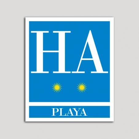 Placa distintivo Hotel - Apartamentos - Playa - Dos estrellas - Oro .Andalucía.