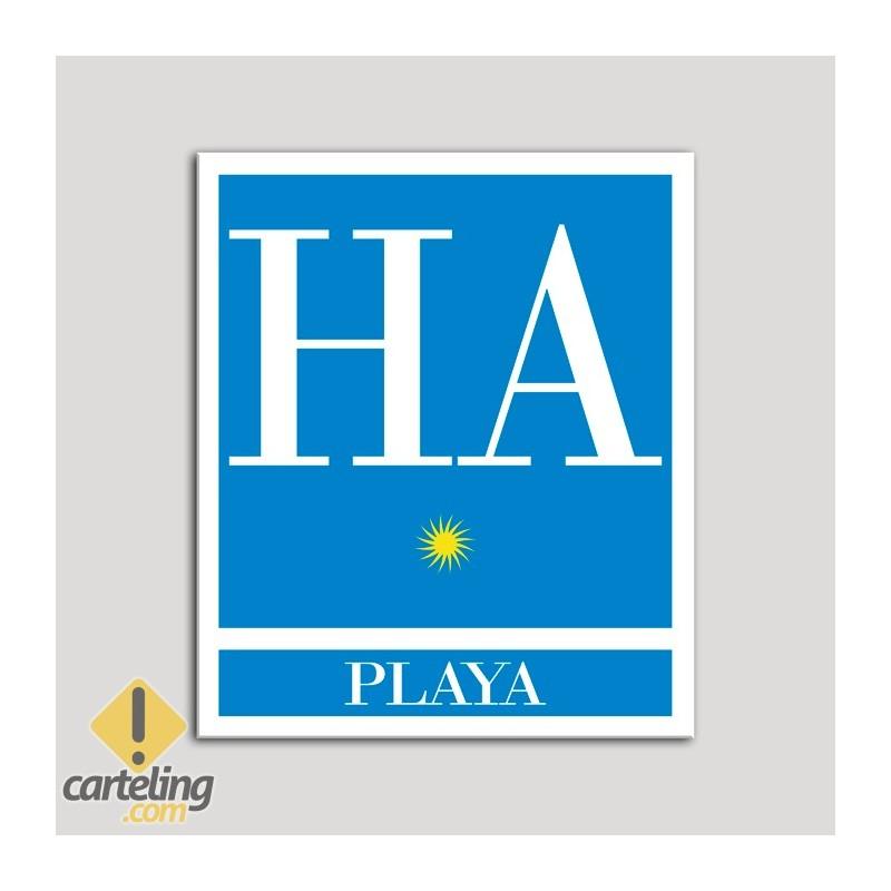 Placa distintivo Hotel - Apartamentos - Playa - Una estrella - Oro .Andalucía.