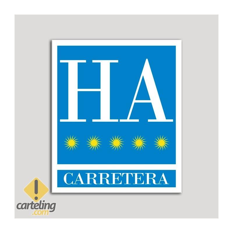 Placa distintivo Hotel - Apartamentos - Carretera - Cinco estrellas - Oro .Andalucía.