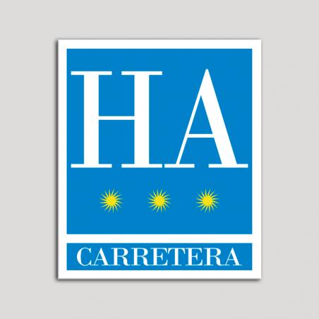 Placa distintivo Hotel - Apartamentos - Carretera - Tres estrellas - Oro .Andalucía.