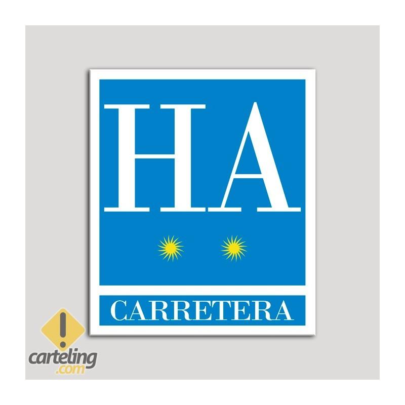 Placa distintivo Hotel - Apartamentos- Carretera - Dos estrellas - Oro .Andalucía.